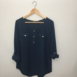 Navy blue ModCloth Miss Daisy blouse
